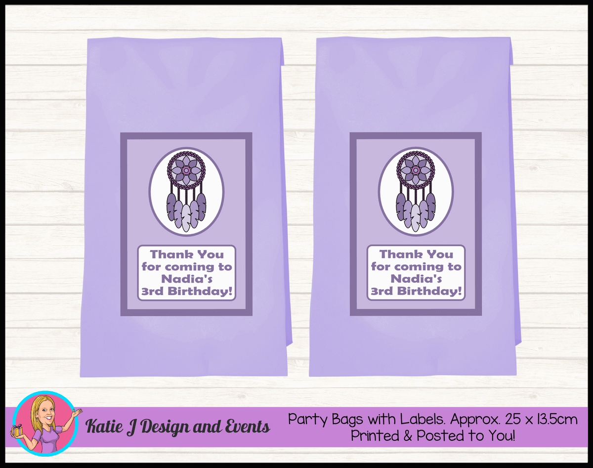 Personalised Purple Dreamcatcher Birthday Party Loot Bags