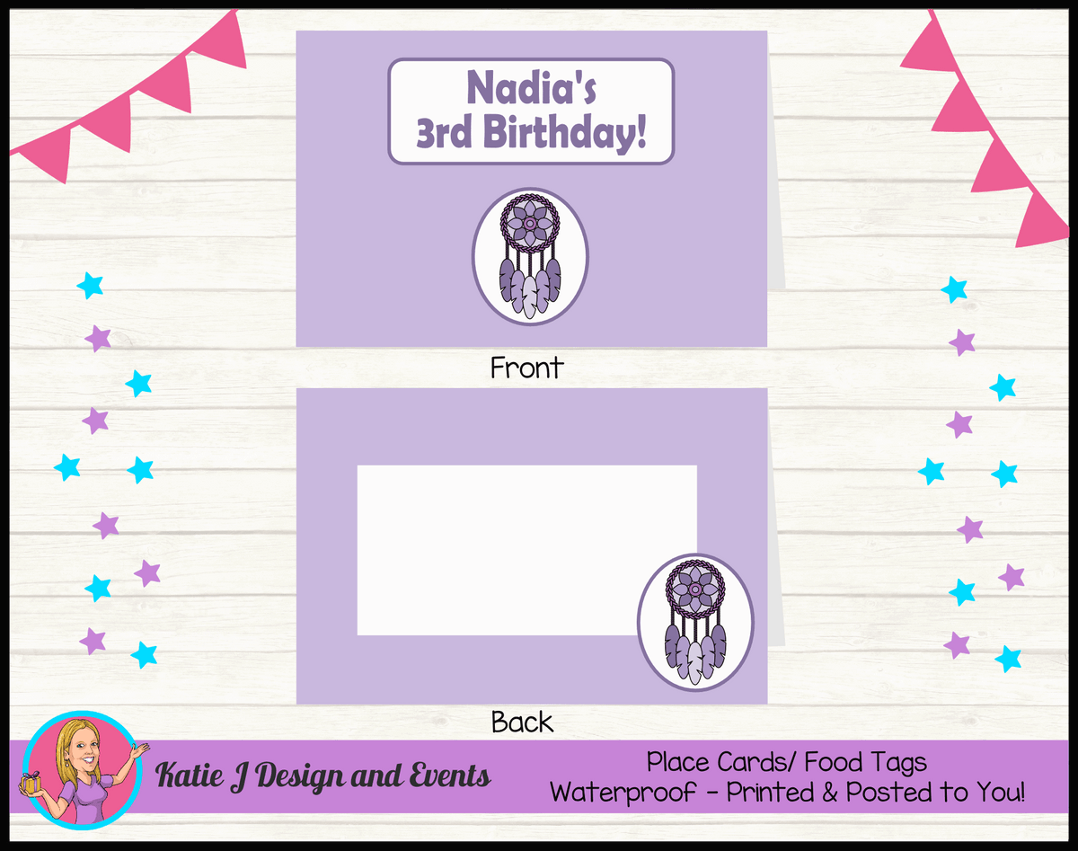 Personalised Purple Dreamcatcher Birthday Party Place Cards