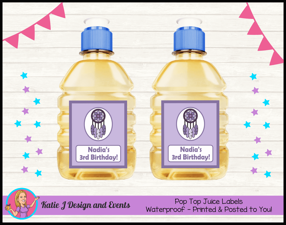 Personalised Purple Dreamcatcher Birthday Party Pop Top Juice Labels