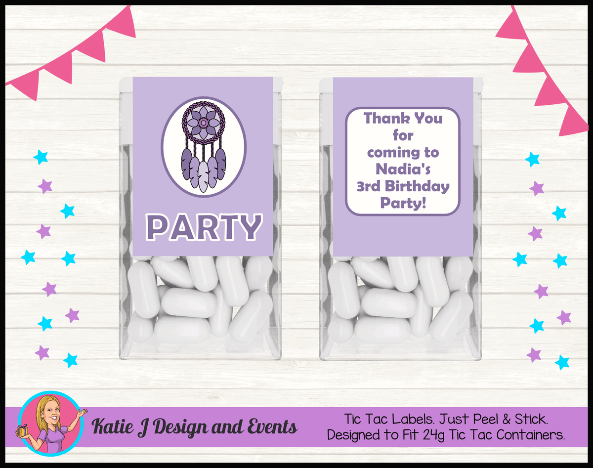 Personalised Purple Dreamcatcher Birthday Party Tic Tac Mint Labels