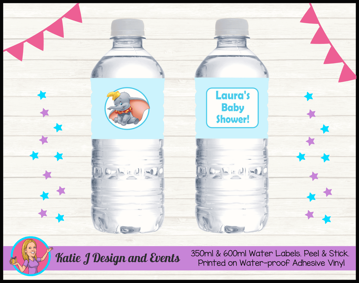 Personalised Boys Blue Dumbo Baby Shower Water Bottle Labels