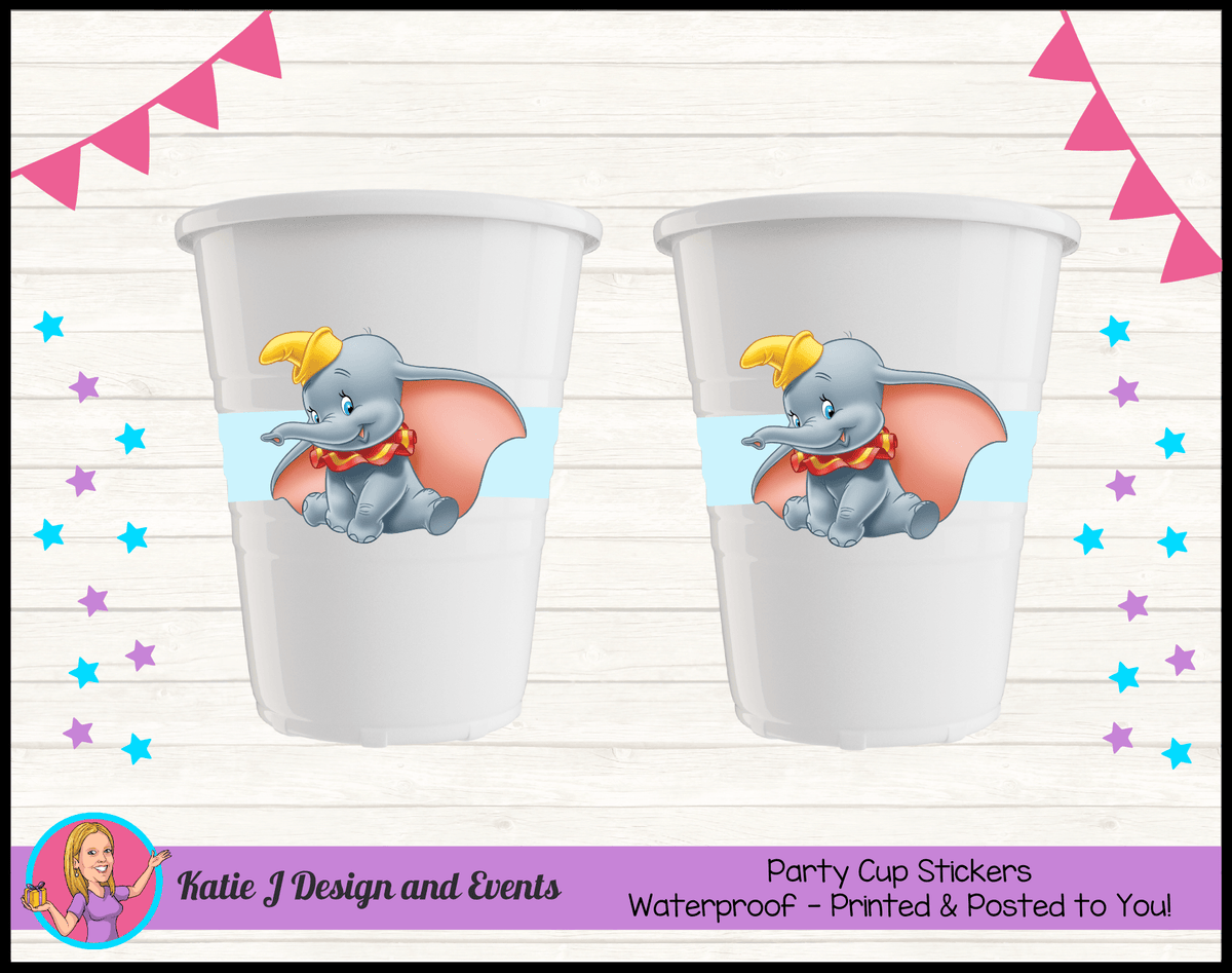 Personalised Boys Blue Dumbo Baby Shower Cup Stickers Cups
