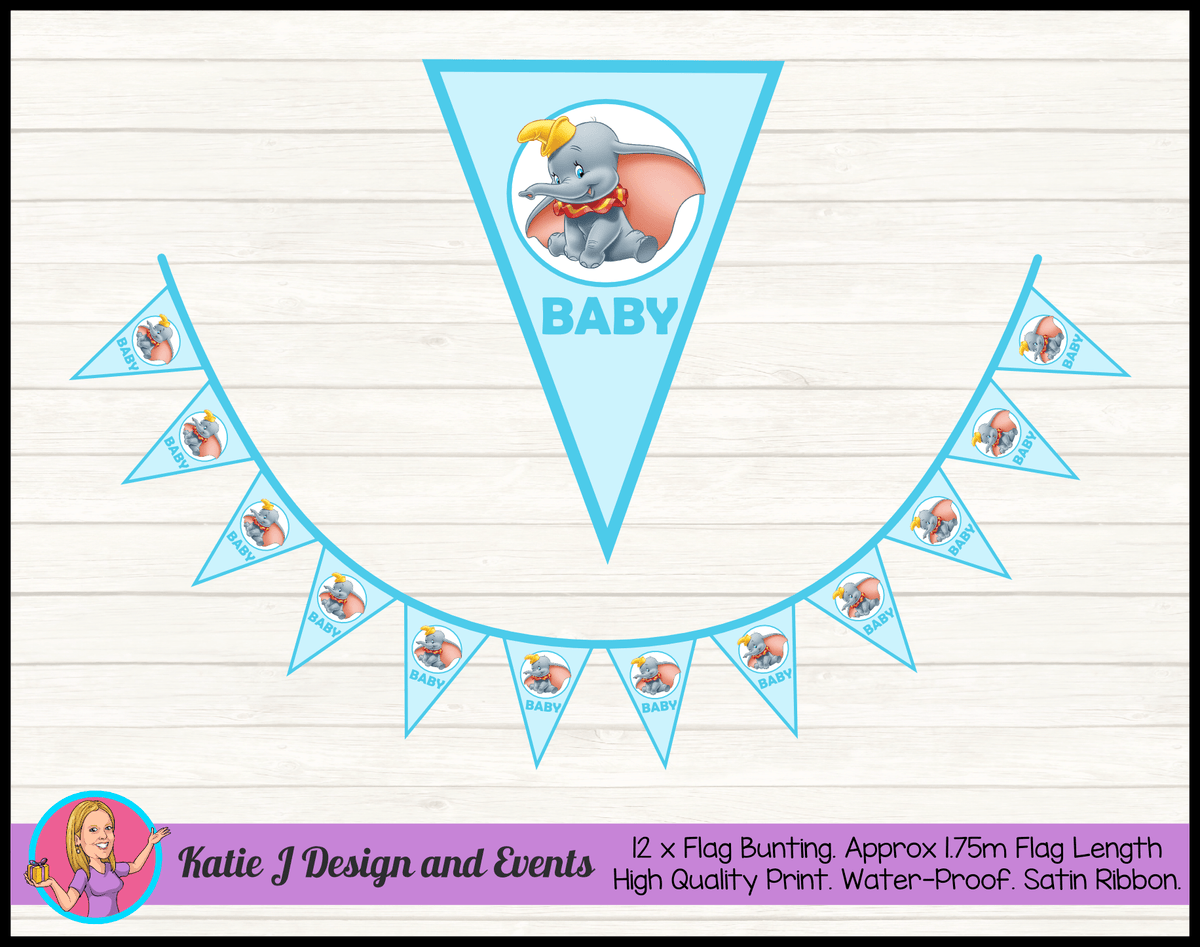 Personalised Boys Blue Dumbo Baby Shower Flag Bunting