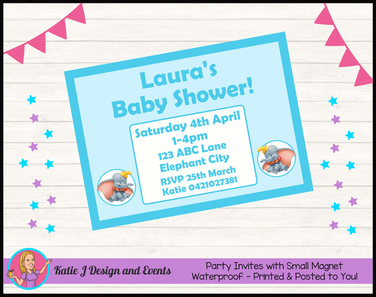Personalised Boys Blue Dumbo Baby Shower Invites Invitations
