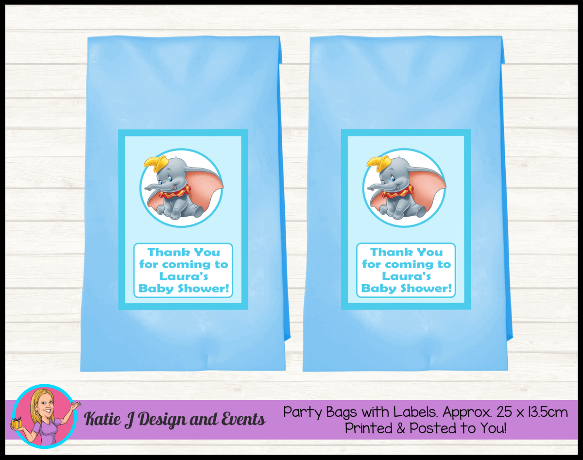 Personalised Boys Blue Dumbo Baby Shower Party Loot Bags