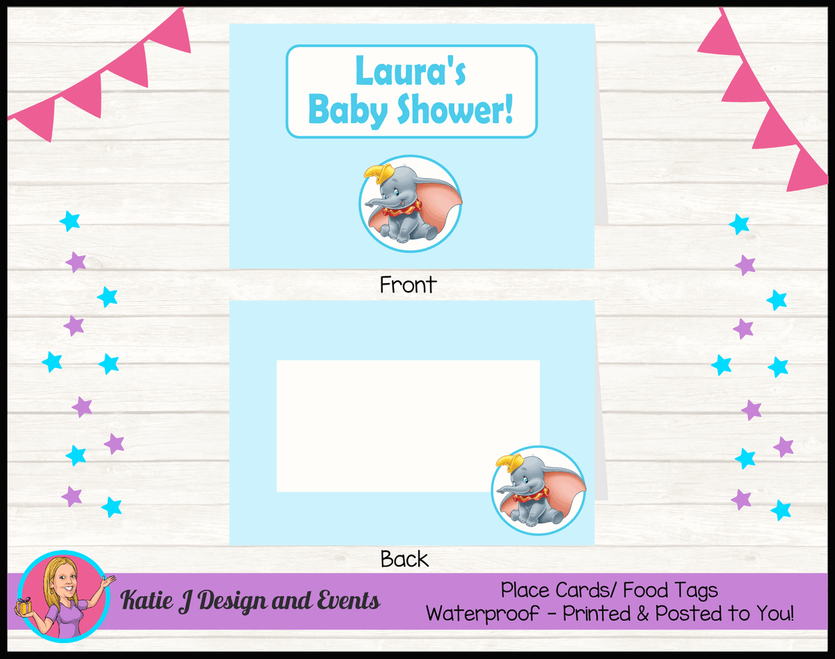 Personalised Boys Blue Dumbo Baby Shower Place Cards