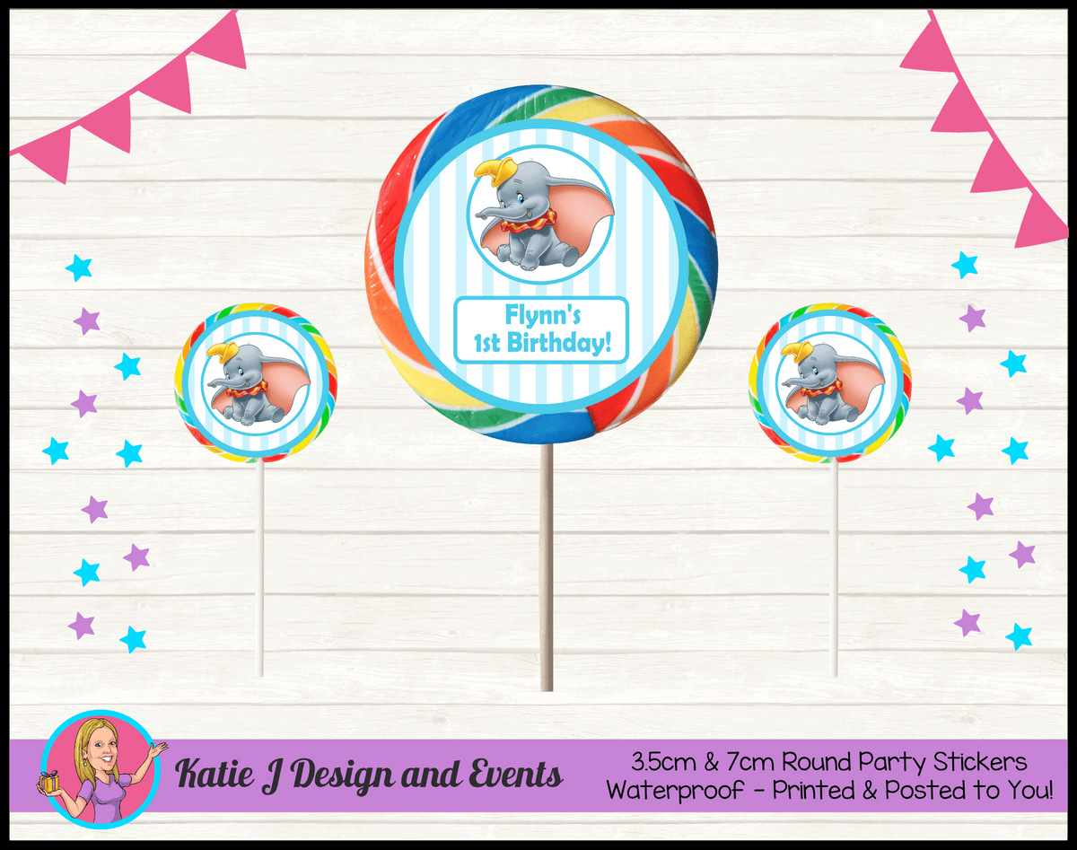 Personalised Boys Dumbo Carnival Round Lollipop Stickers