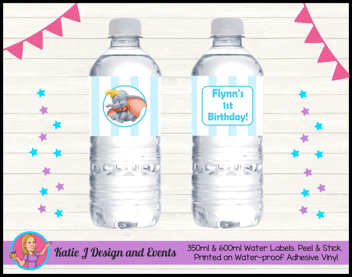 Personalised Boys Dumbo Carnival Party Water Bottle Labels