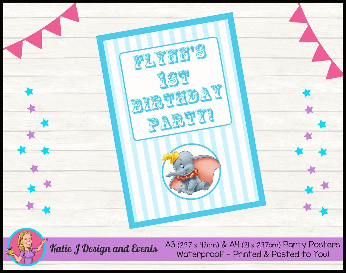Personalised Boys Dumbo Carnival Birthday Party Poster