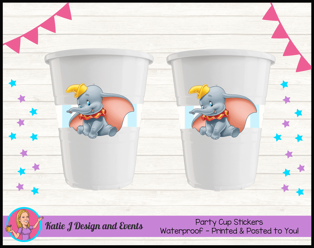 Personalised Boys Dumbo Carnival Birthday Party Cup Stickers Cups