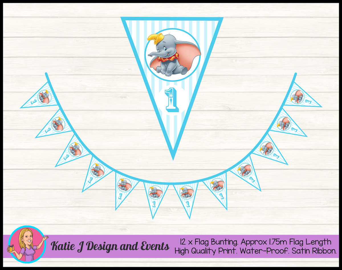 Personalised Boys Dumbo Carnival Birthday Party Flag Bunting