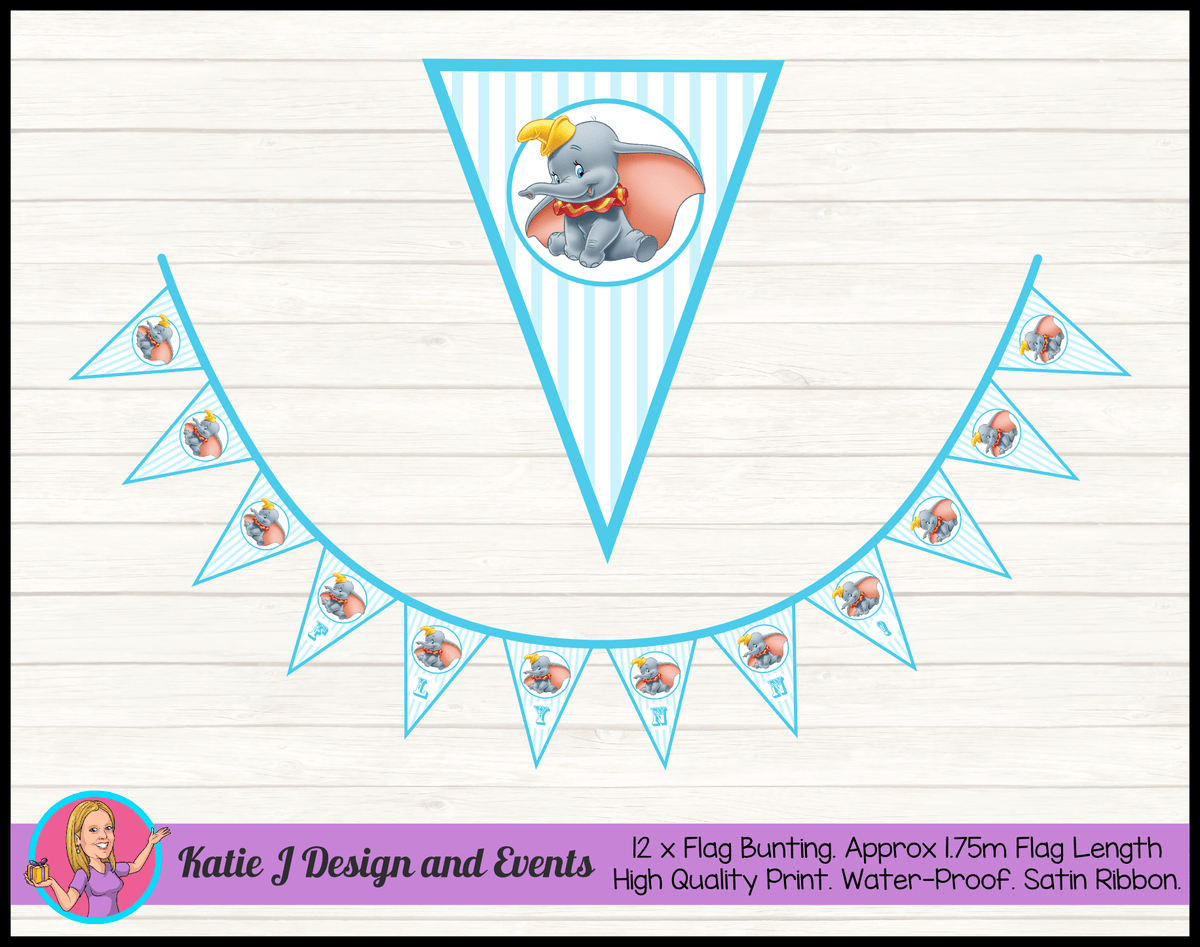 Personalised Dumbo Blue Carnival Birthday Party Decorations