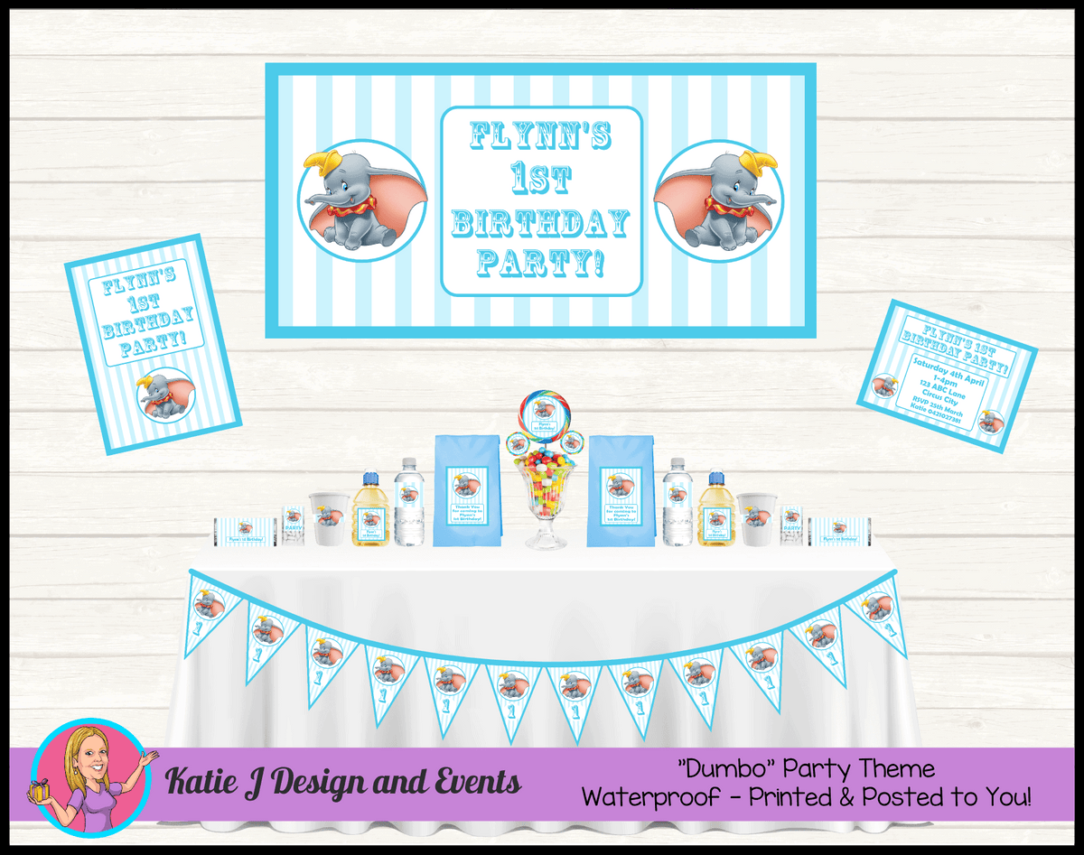 Personalised Blue Boys Dumbo Carnival Party Packs Decorations Supplies