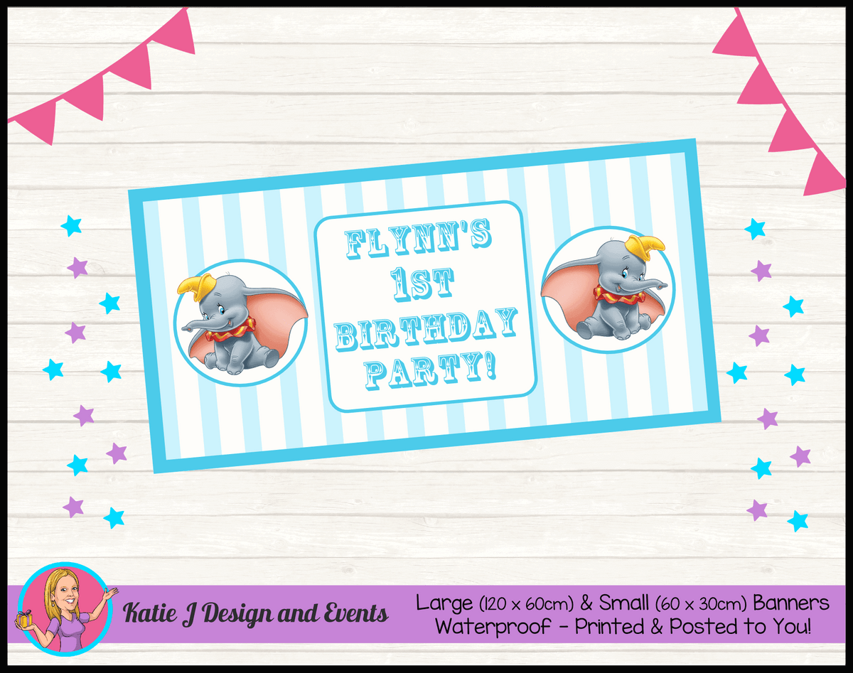 Personalised Boys Dumbo Carnival Birthday Party Banners