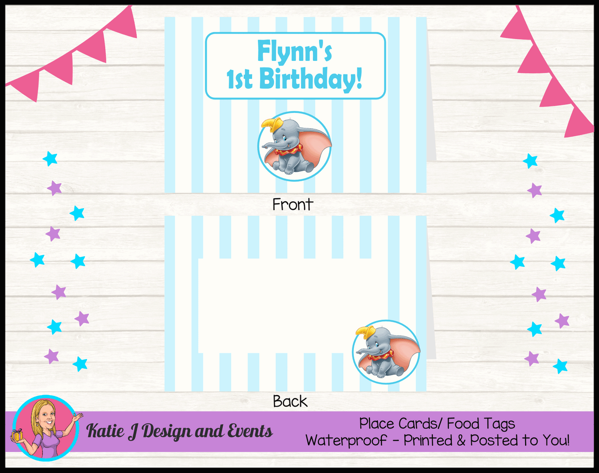 Personalised Boys Dumbo Carnival Birthday Party Place Cards