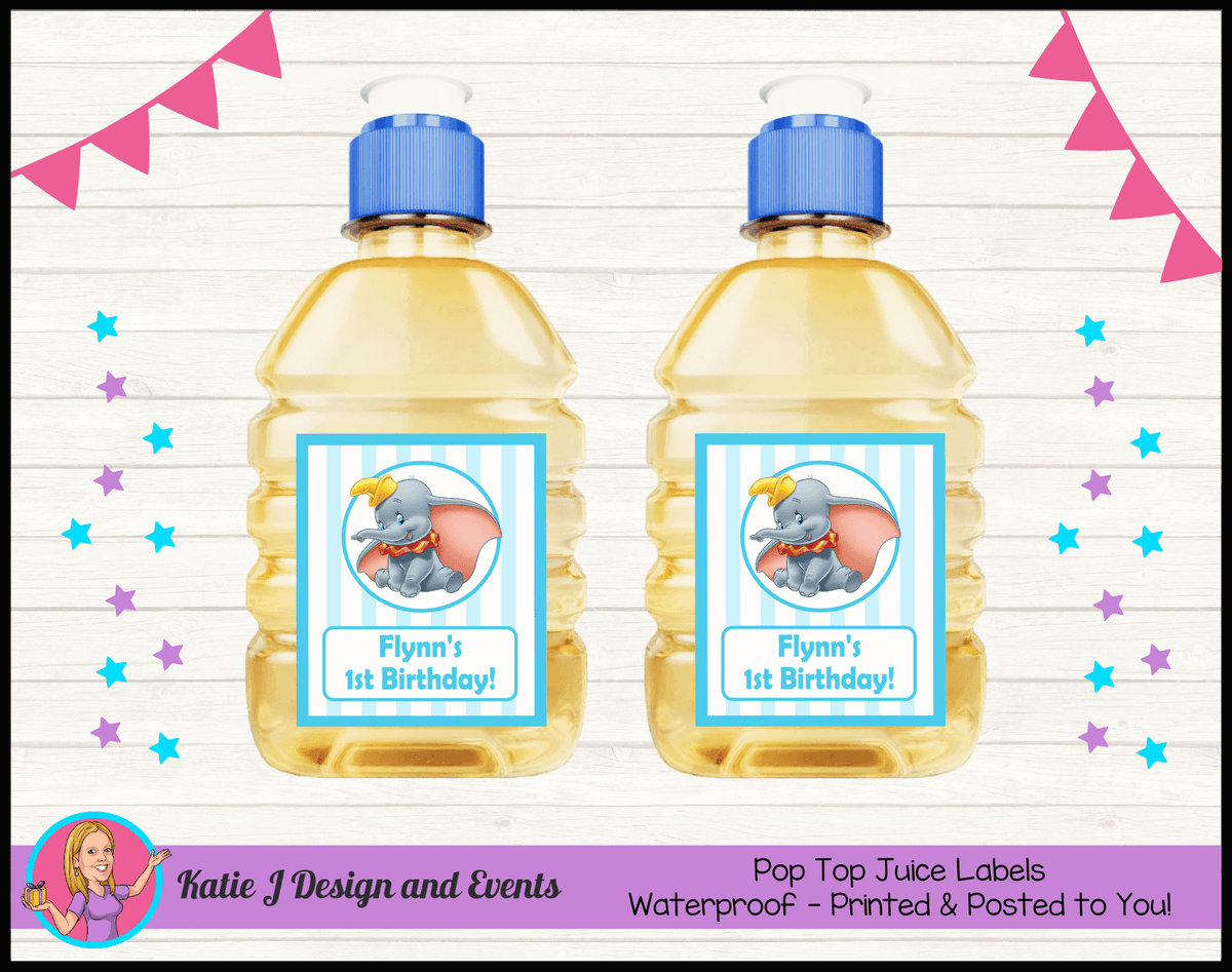 Personalised Boys Dumbo Carnival Pop Top Juice Labels