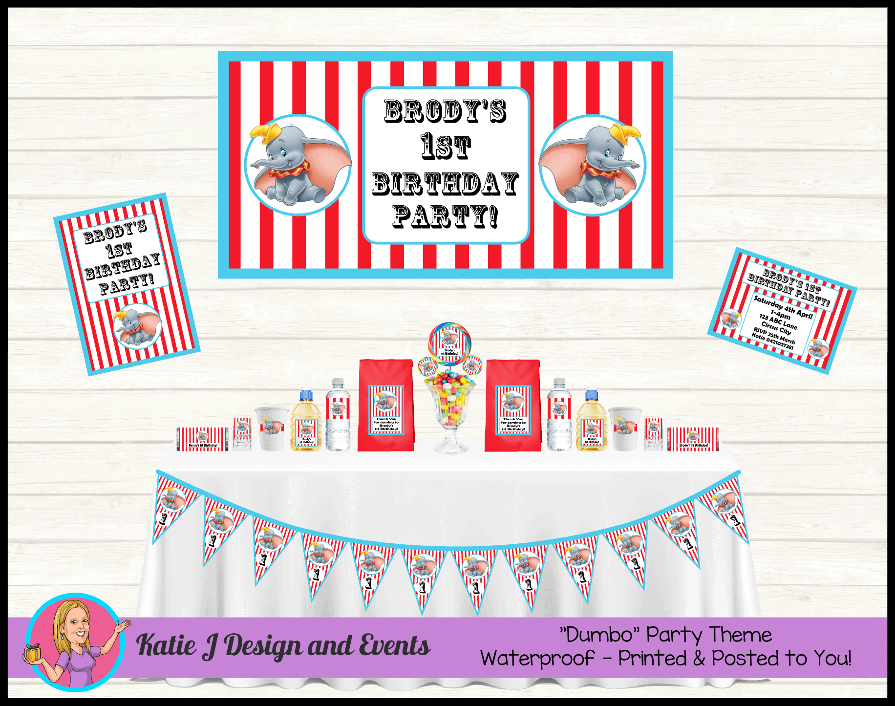 Personalised Dumbo Party Packs Decorations Supplies