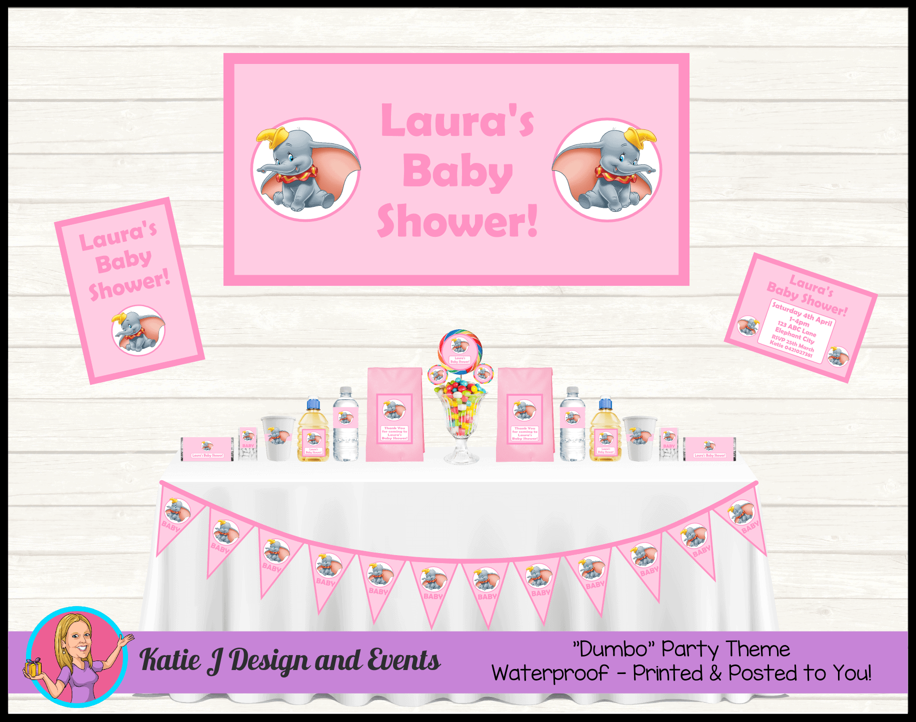 Personalised Girls Pink Dumbo Baby Shower Decorations Supplies