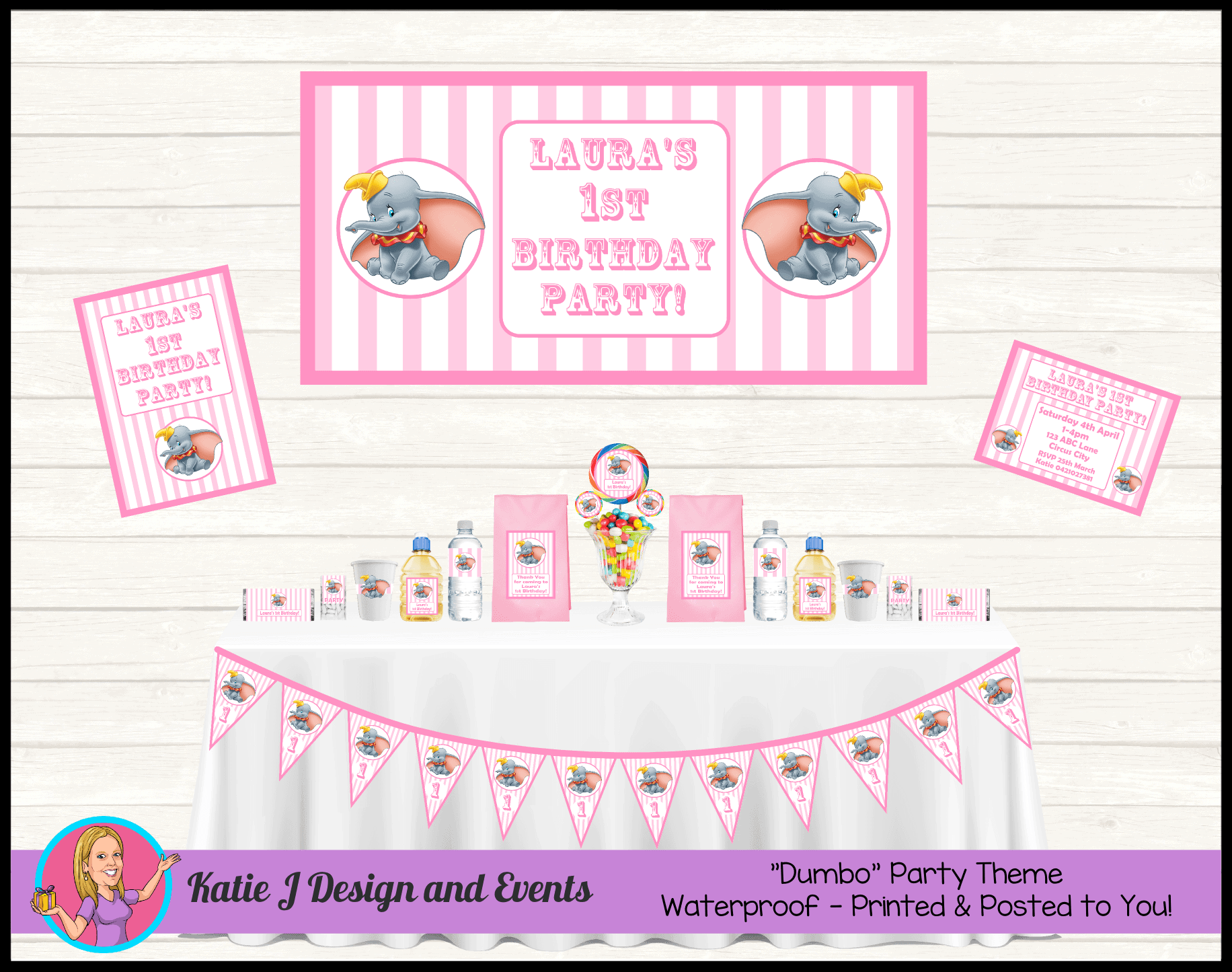 Personalised Girls Dumbo Carnival Party Packs Decorations Supplies