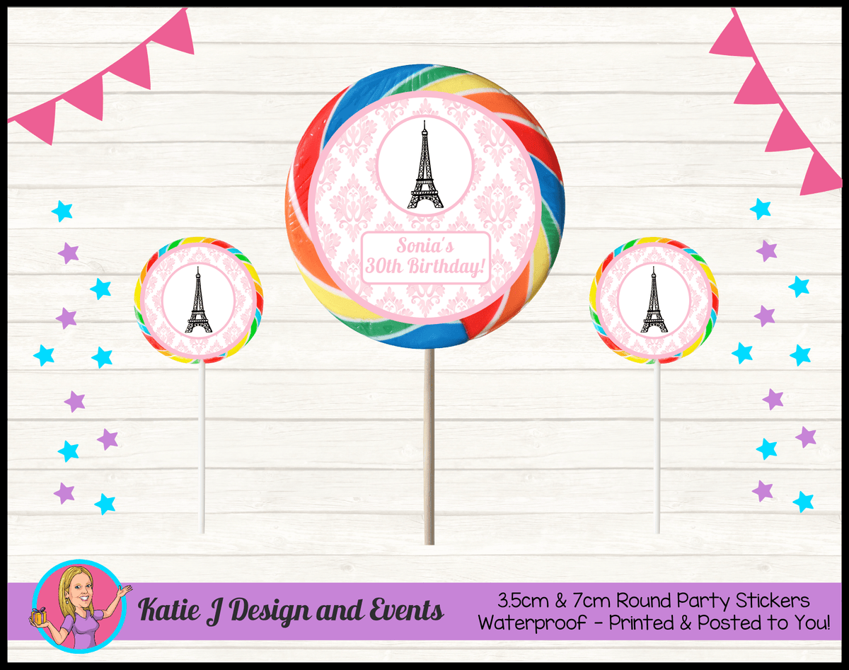 Personalised Eiffel Tower Birthday Party Round Lollipop Stickers