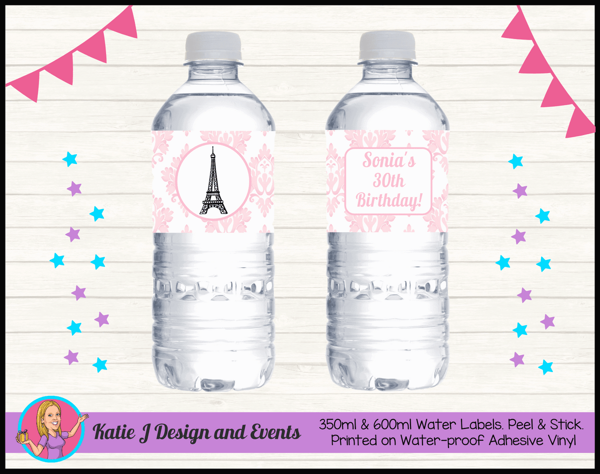 Personalised Eiffel Tower Birthday Party Water Bottle Labels