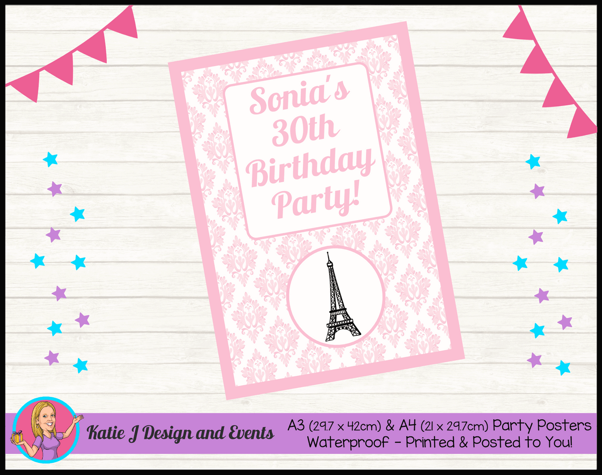 Personalised Eiffel Tower Birthday Party Poster