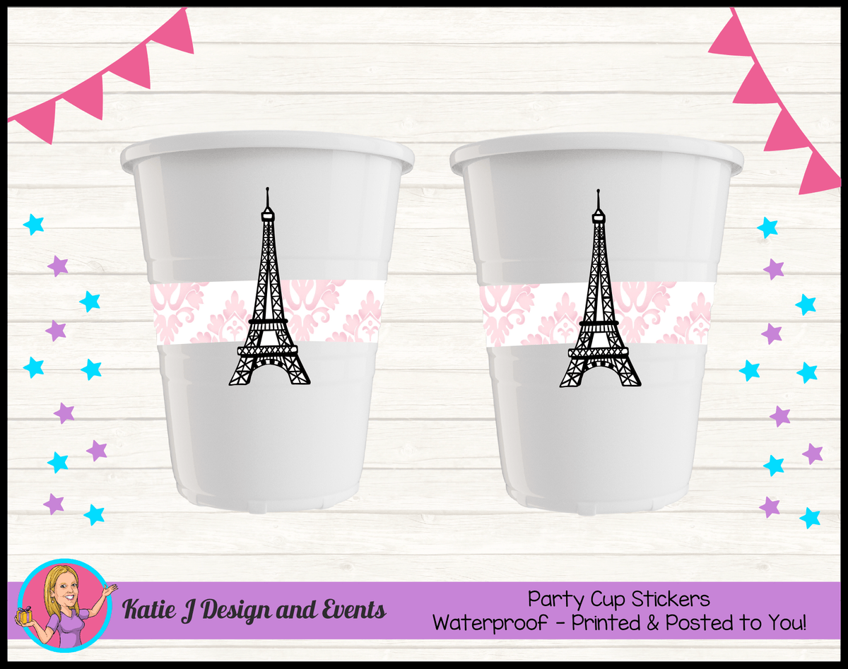 Personalised Eiffel Tower Birthday Party Cup Stickers Cups