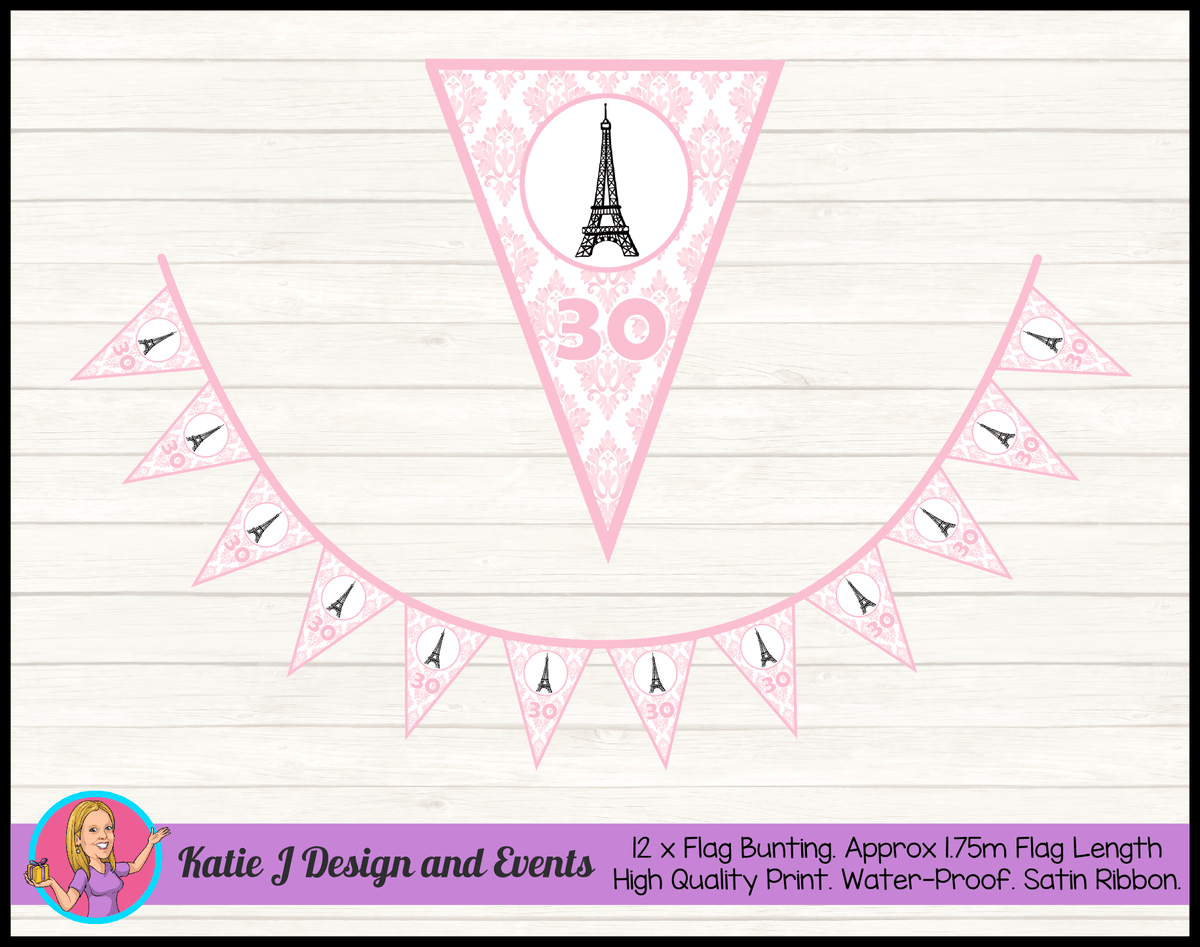 Personalised Eiffel Tower Birthday Party Flag Bunting