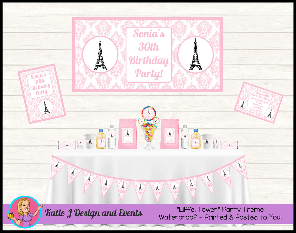 Personalised Eiffel Tower Party Packs Decorations Supplies