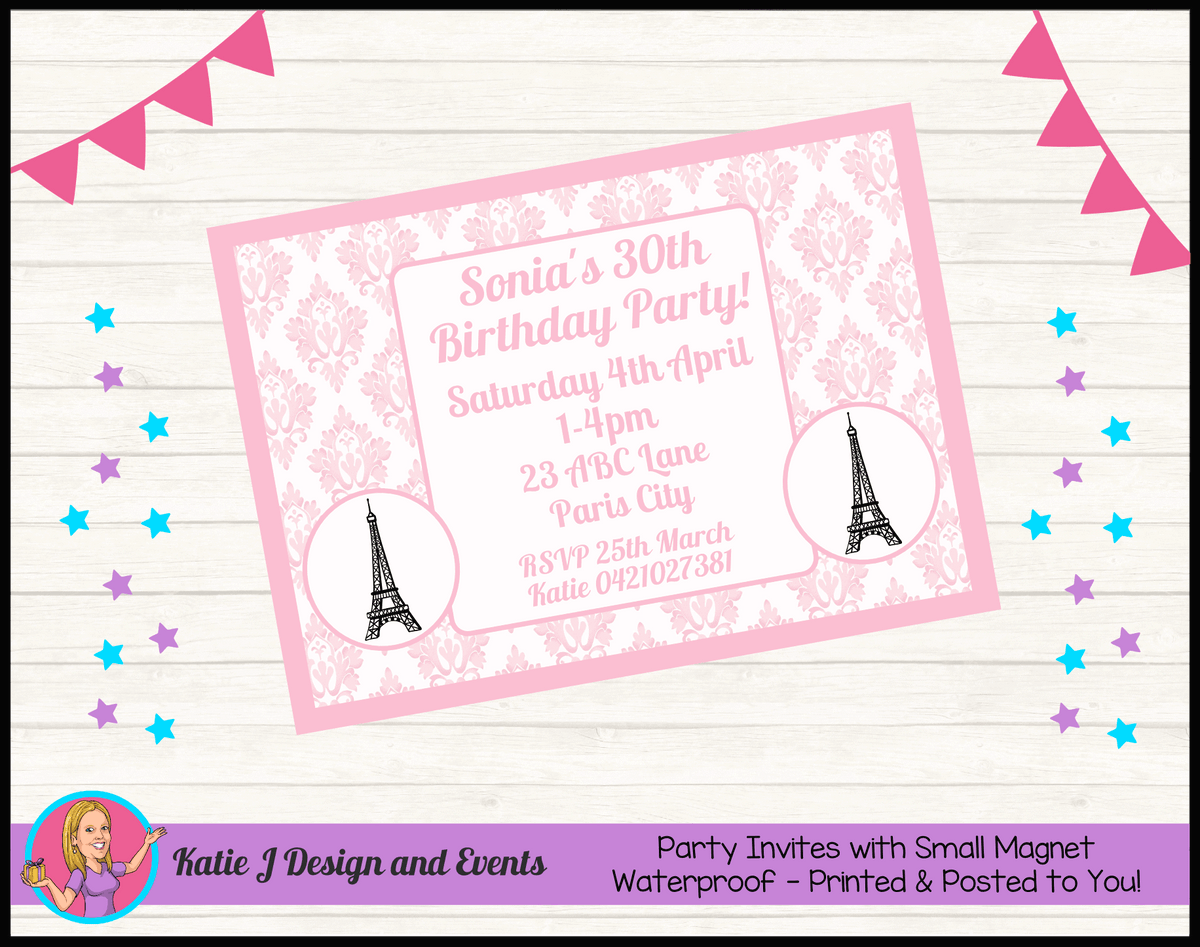 Personalised Eiffel Tower Birthday Party Invites Invitations