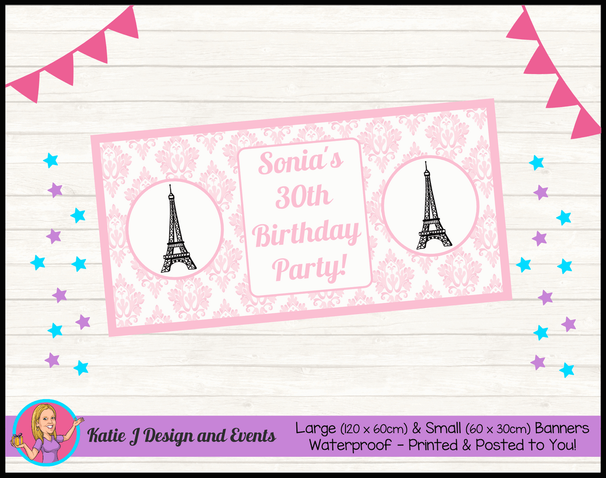 Personalised Eiffel Tower Birthday Party Banner