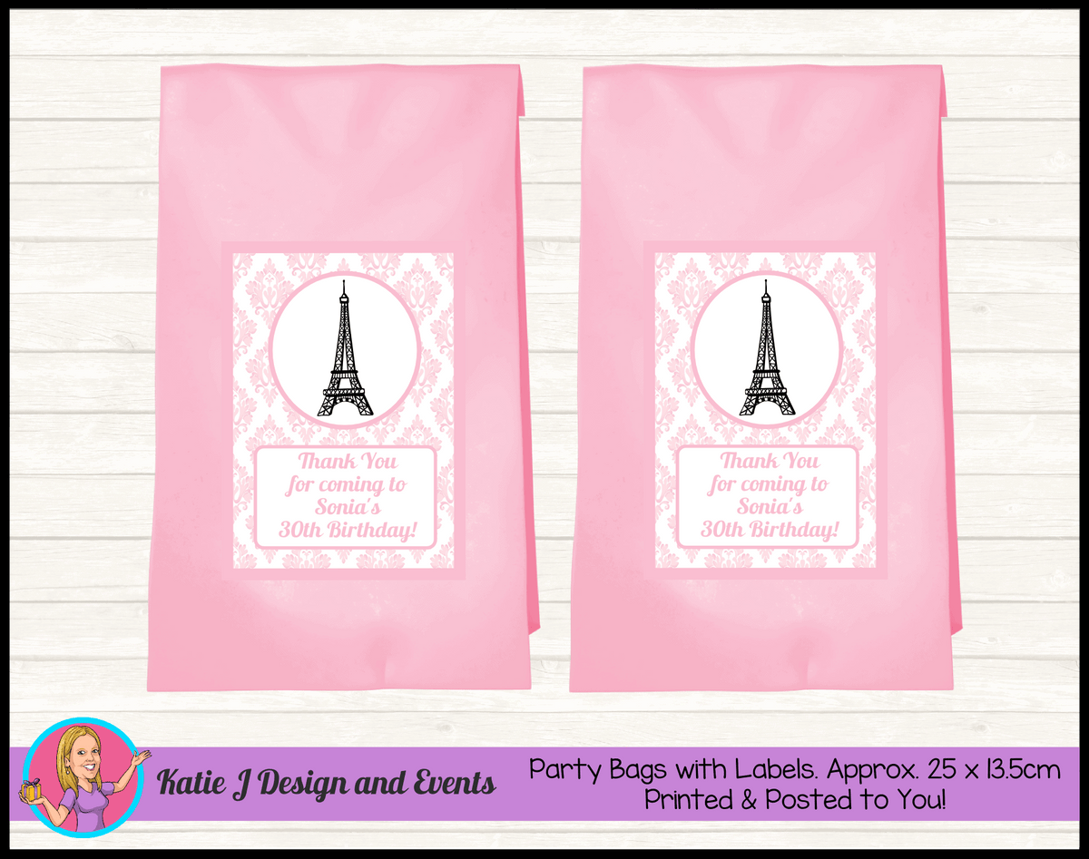 Personalised Eiffel Tower Birthday Party Loot Bags