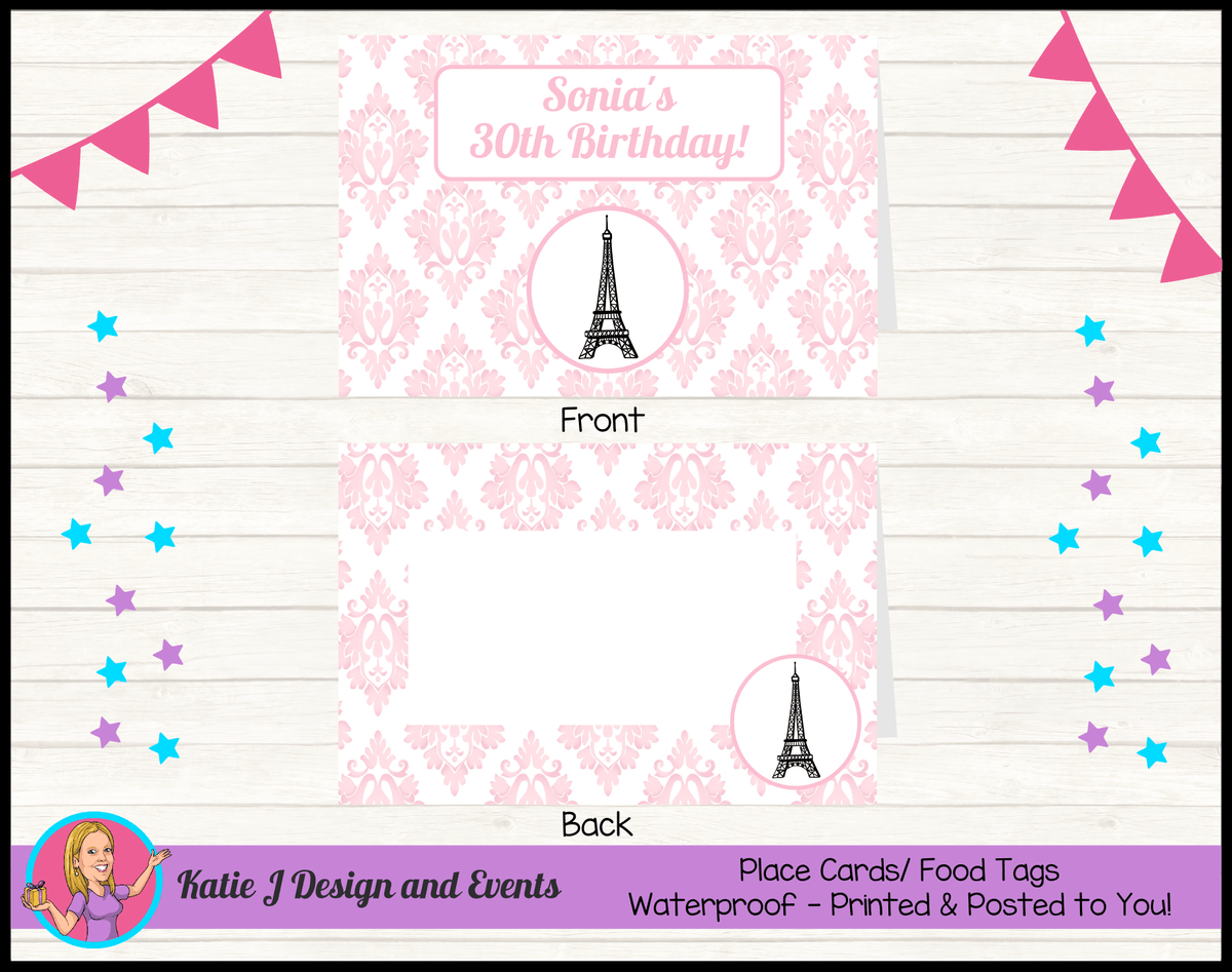 Personalised Eiffel Tower Birthday Party Place Cards
