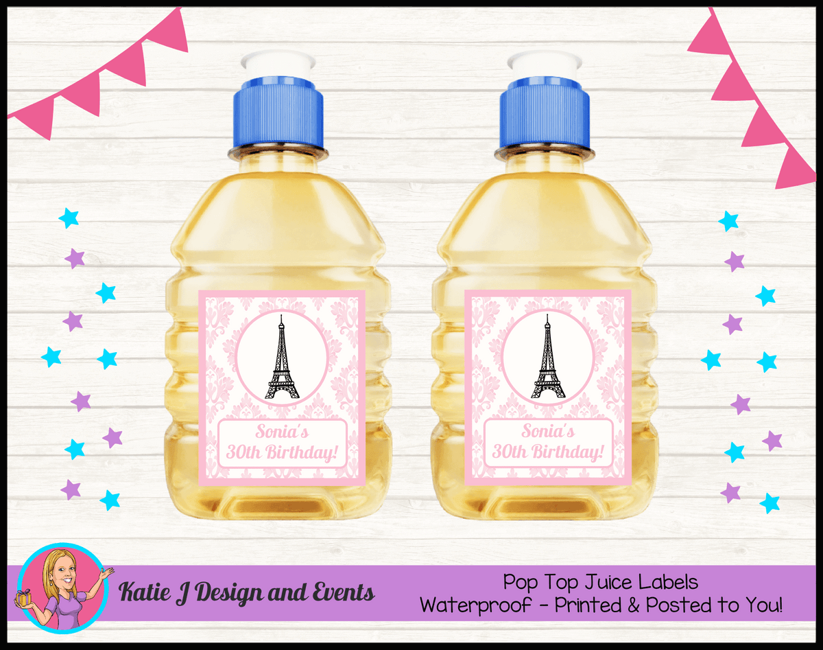 Personalised Eiffel Tower Birthday Party Pop Top Juice Labels