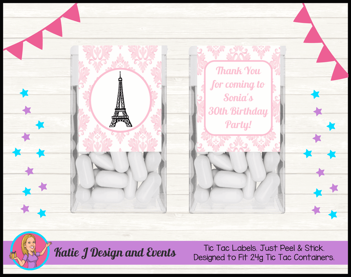 Personalised Eiffel Tower Birthday Party Tic Tac Mint Labels