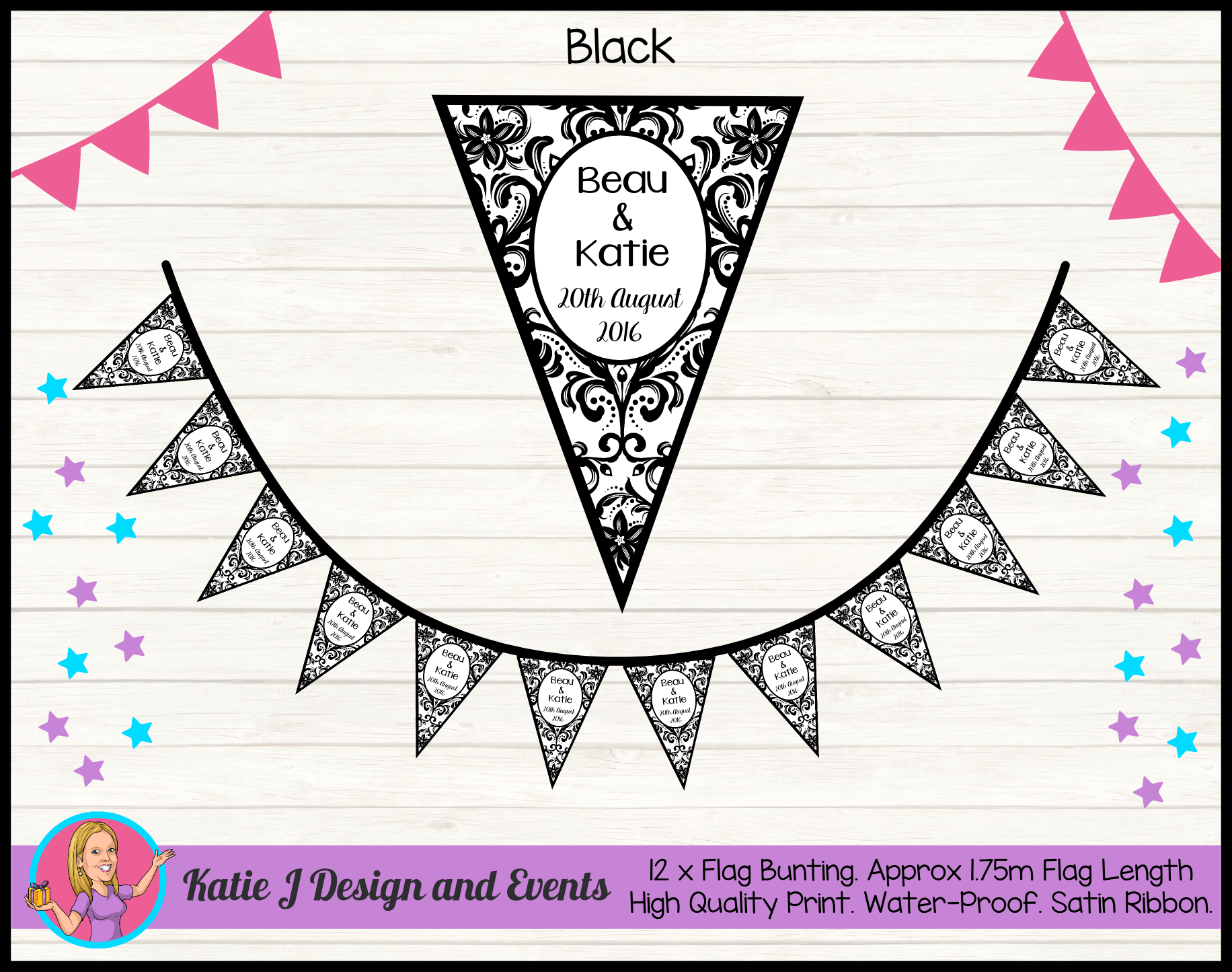 Personalised Black Damask Wedding Flag Bunting Banners