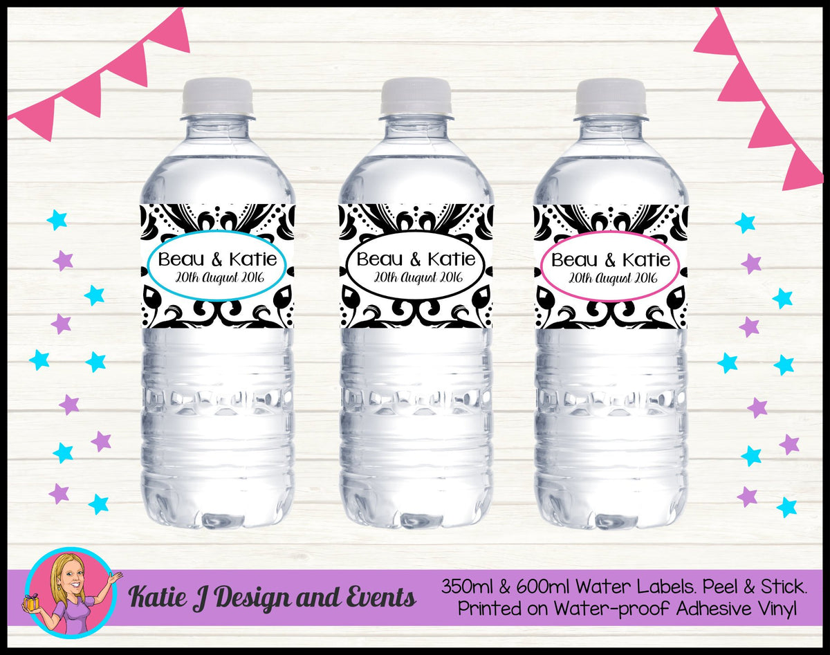 Personalised Black Damask Wedding Water Bottle Drink Labels