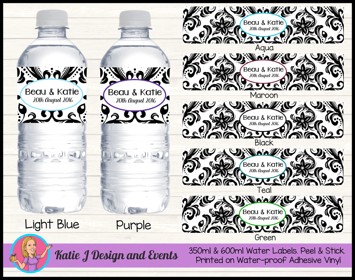 Elegant Black Damask Wedding Water Labels