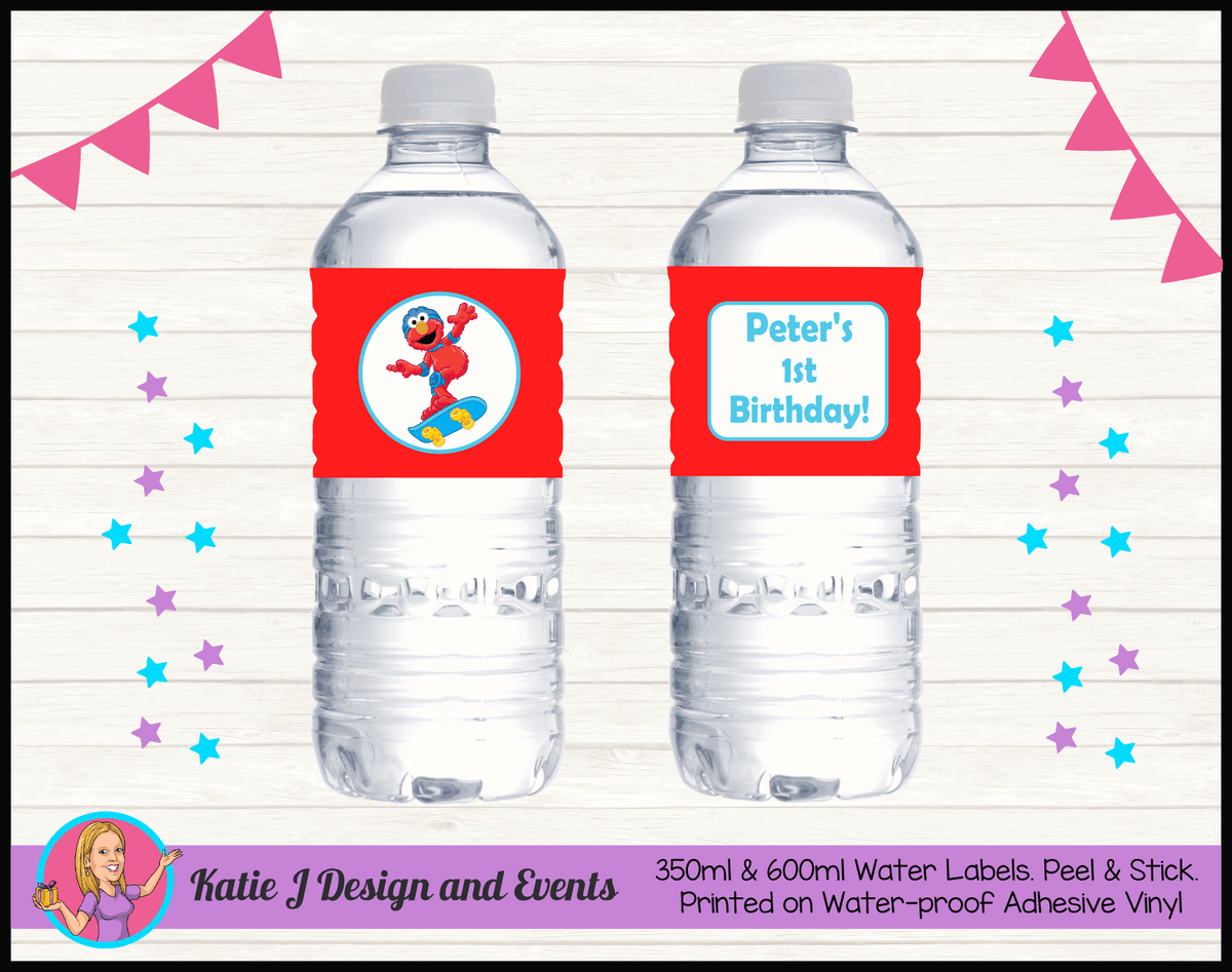 Personalised Boys Elmo Birthday Party Water Bottle Labels
