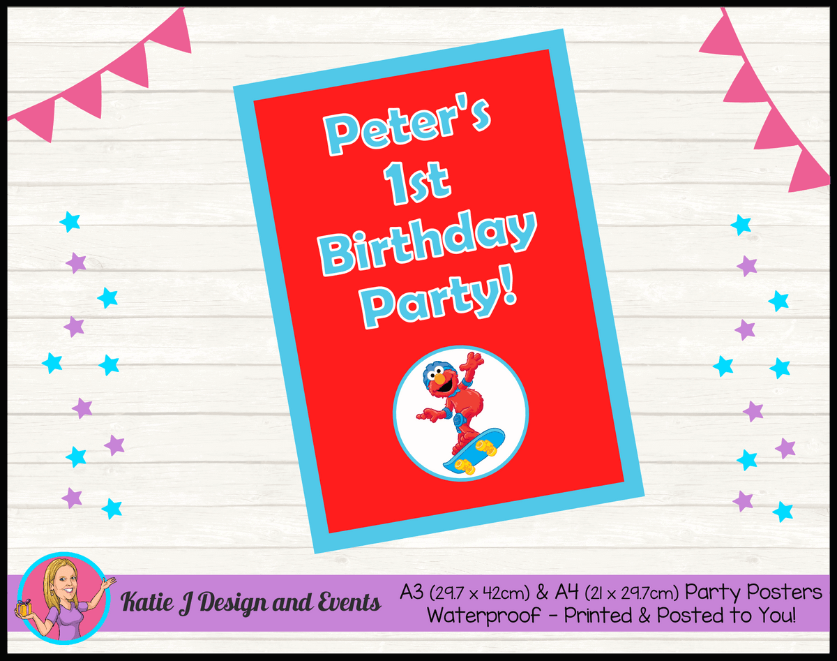 Personalised Boys Elmo Birthday Party Poster