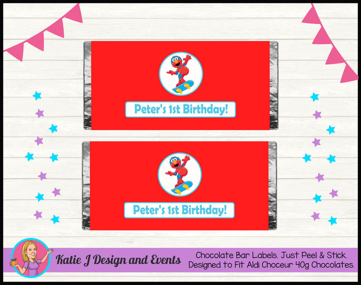 Personalised Boys Elmo Birthday Party Chocolate Labels Wrappers