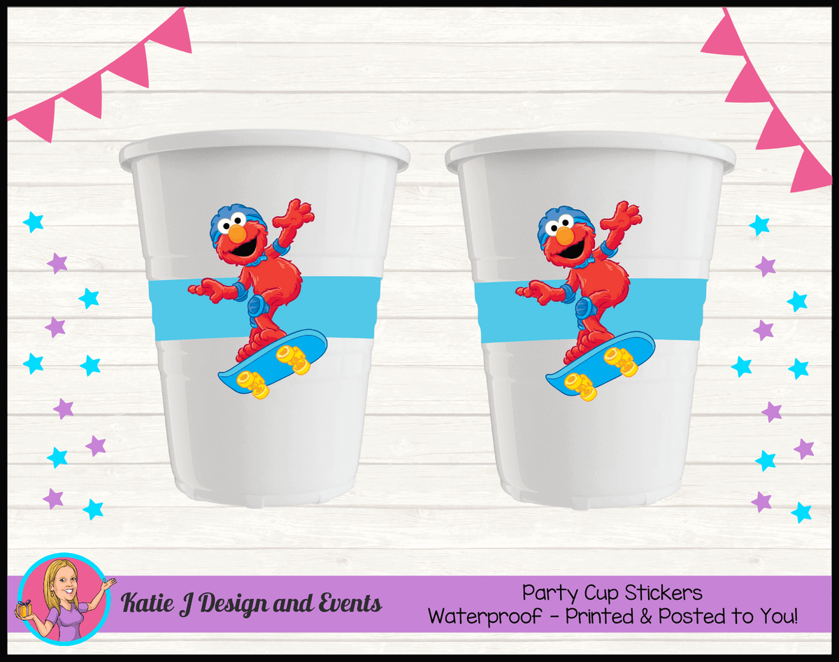 Personalised Boys Elmo Birthday Party Cup Stickers Cups