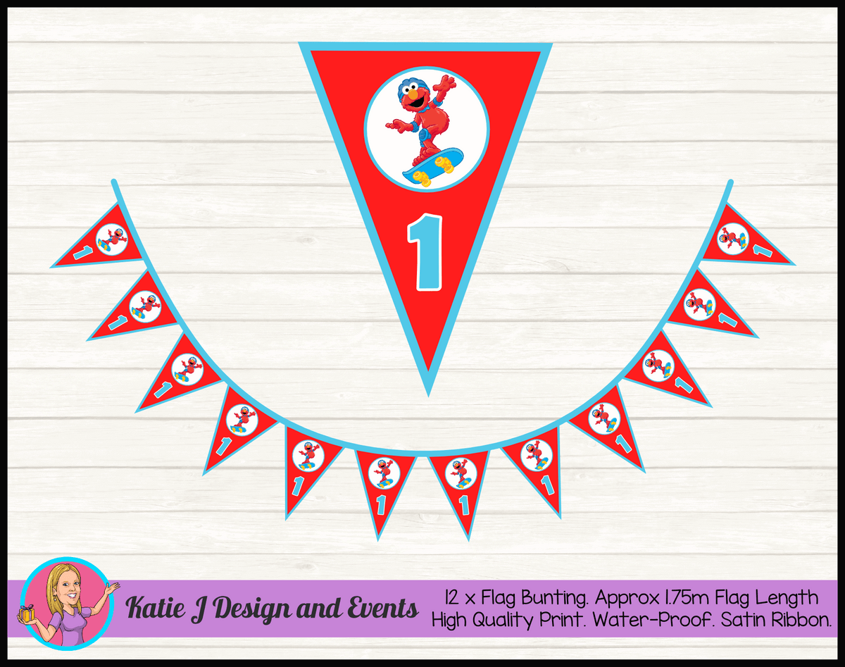 Personalised Boys Elmo Birthday Party Flag Bunting