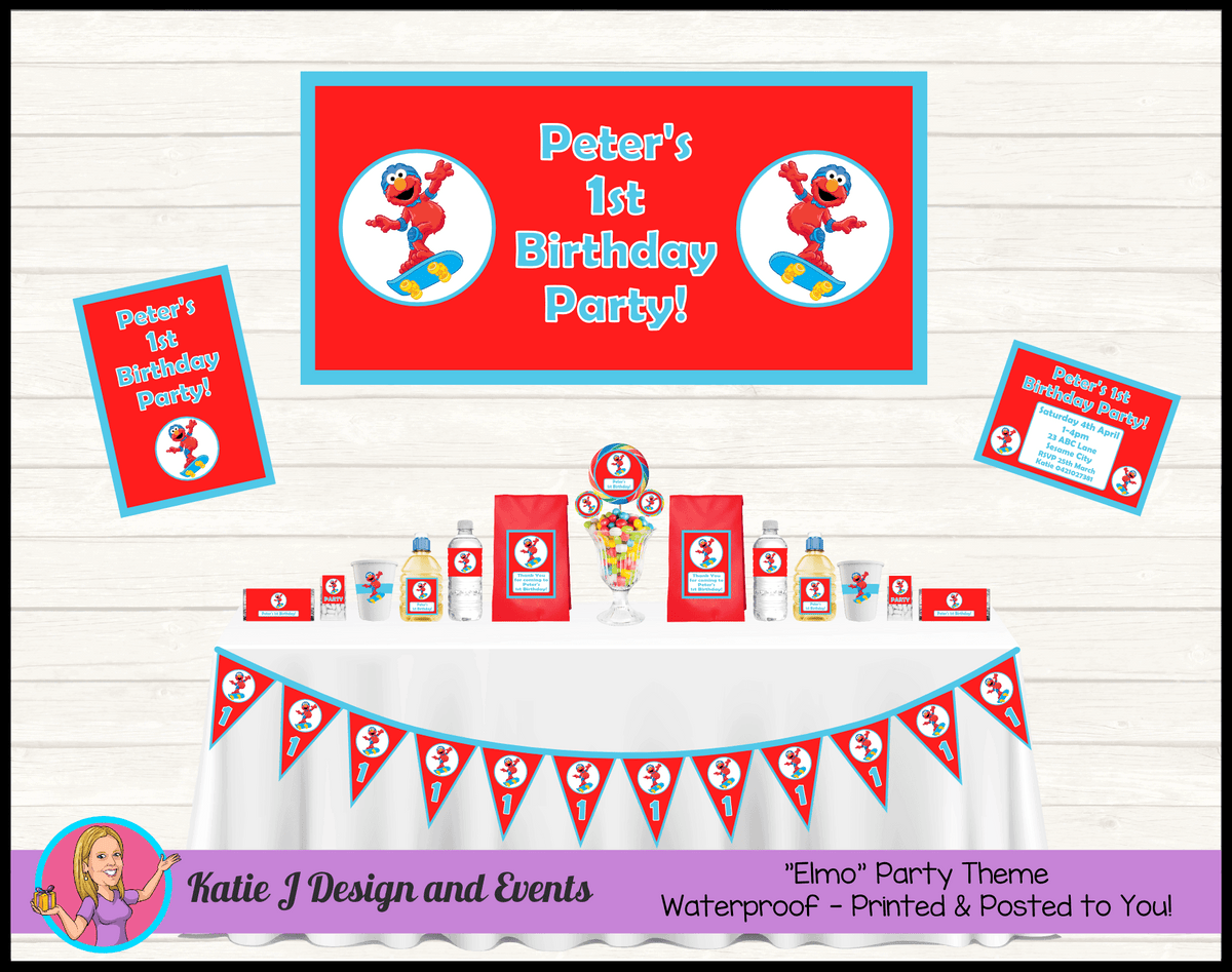 Personalised Boys Elmo Party Packs Decorations Supplies