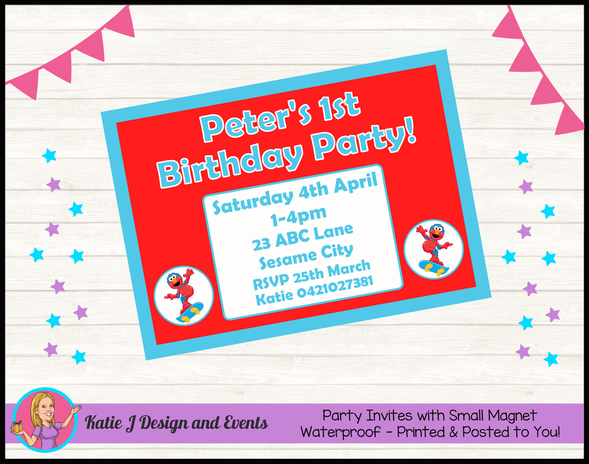 Personalised Boys Elmo Birthday Party Invites Invitations