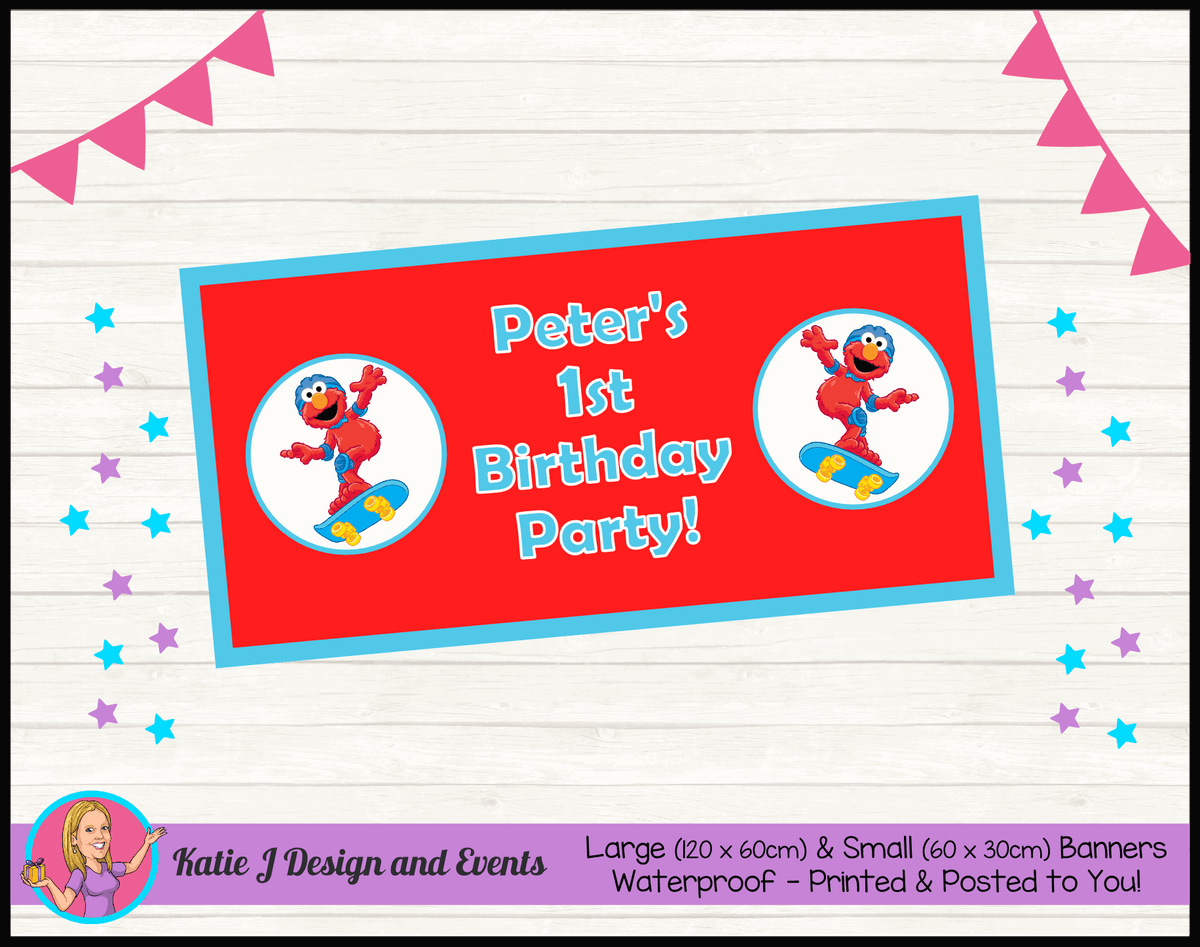 Personalised Boys Elmo Birthday Party Banners
