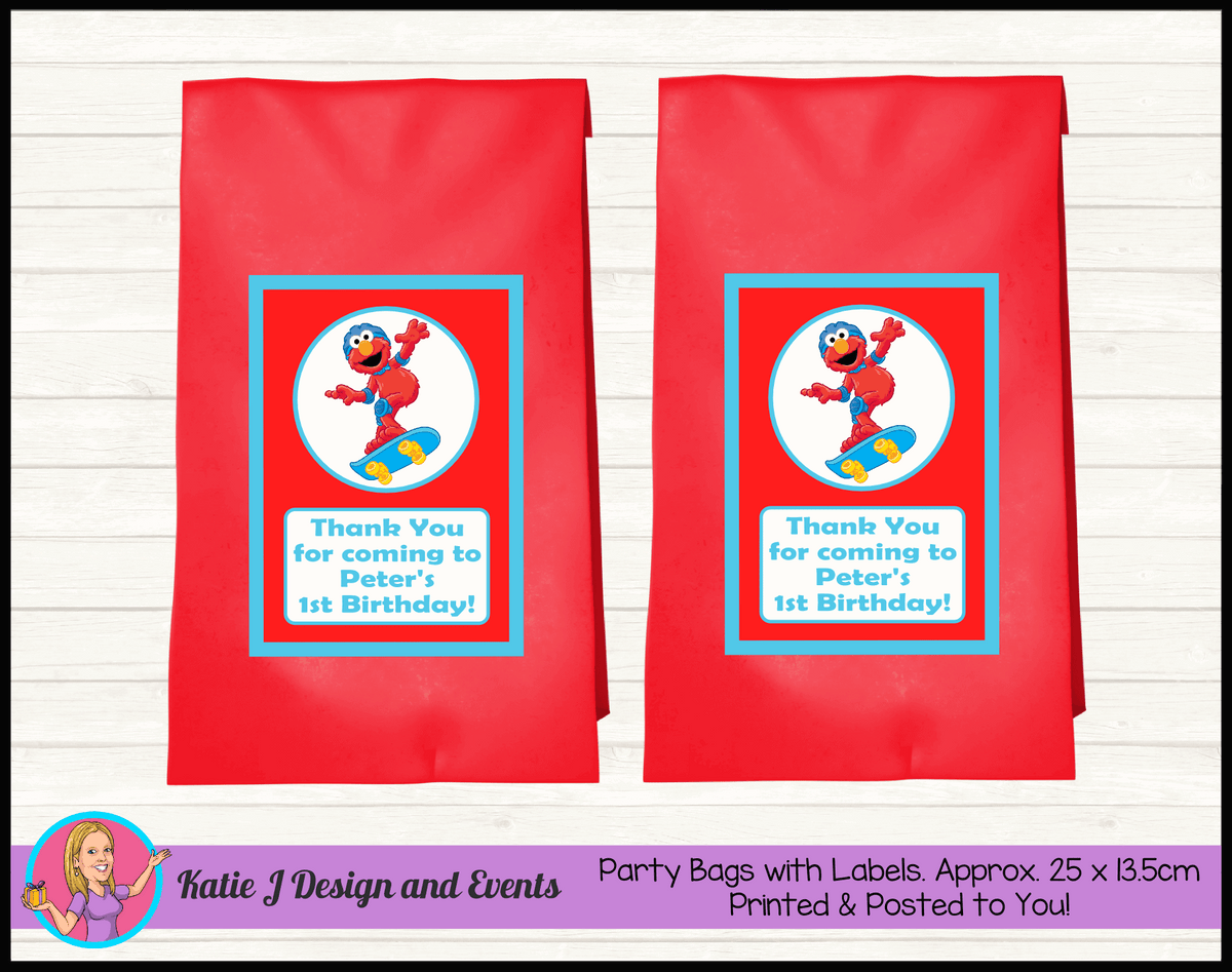 Personalised Boys Elmo Birthday Party Loot Bags