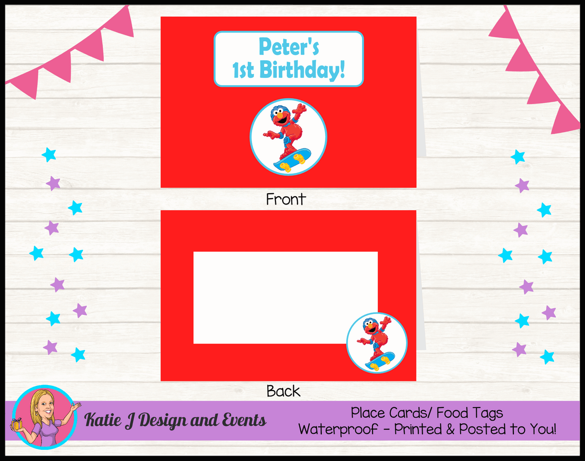 Personalised Boys Elmo Birthday Party Place Cards