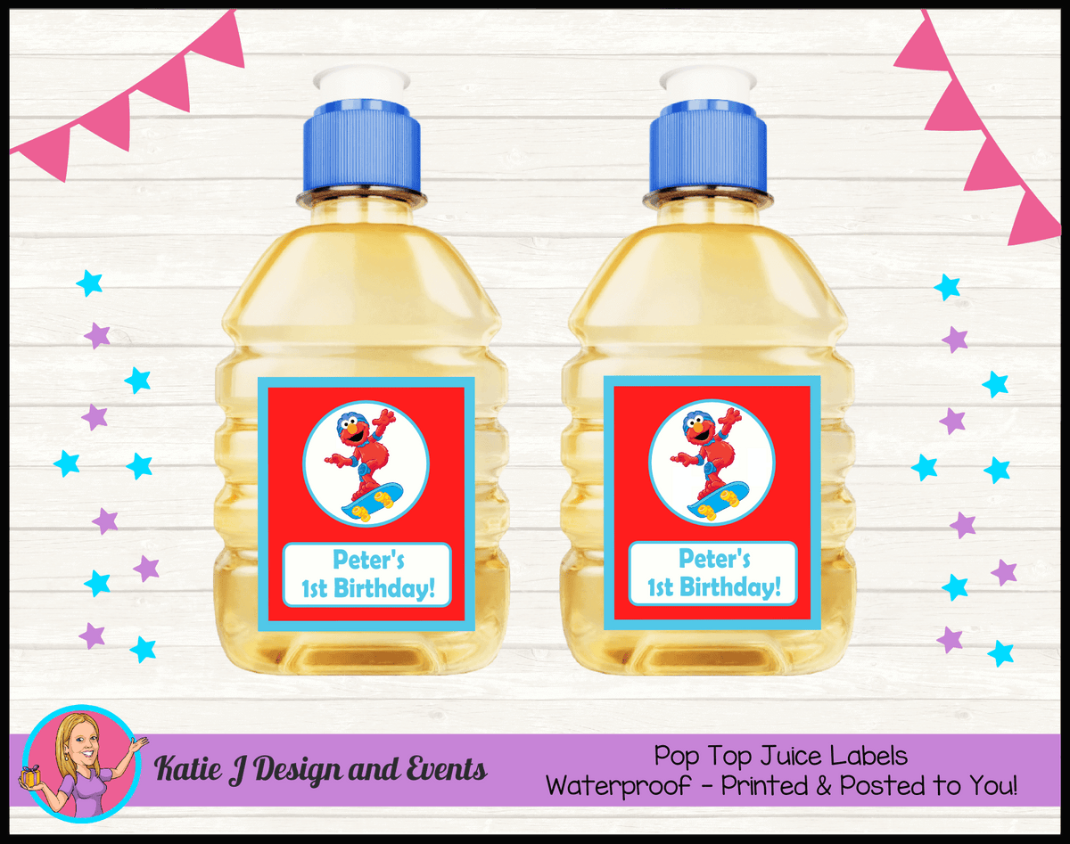 Personalised Boys Elmo Birthday Party Pop Top Juice Labels