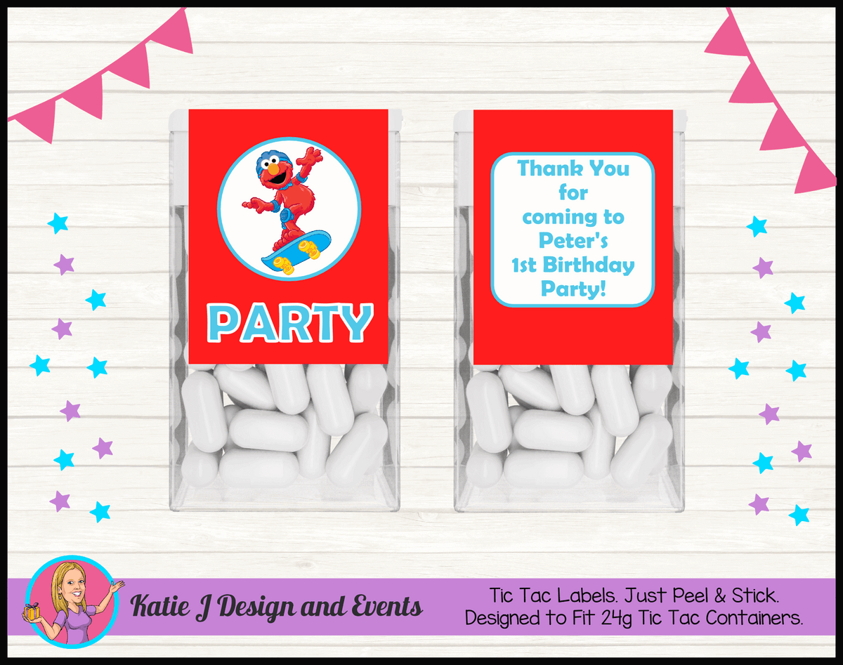 Personalised Boys Elmo Birthday Party Tic Tac Mint Labels